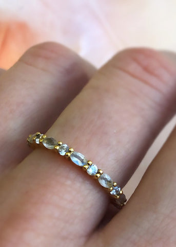 La Kaiser Moonstone Topaz Marquise Eternity Ring