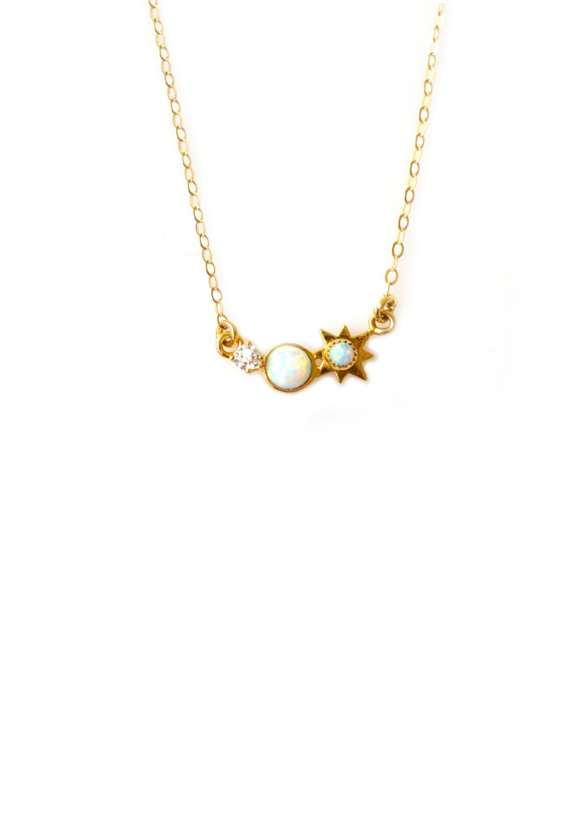 La Kaiser Three Wishes Necklace Delicate Gold Opal