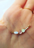 La Kaiser Diamond Wish Pendant Necklace, Moonstone, Opal & Rose Quartz
