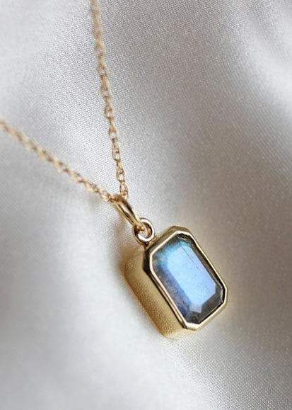 Little Gold Labradorite Pool Necklace