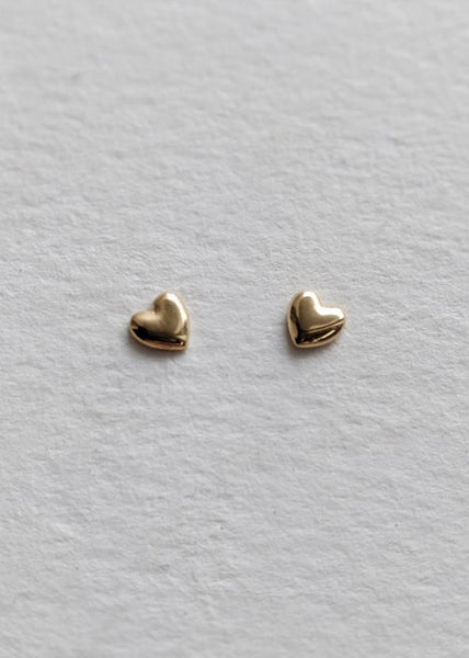 Little Gold  |  Tiniest Heart Stud Earrings, Silver or Gold