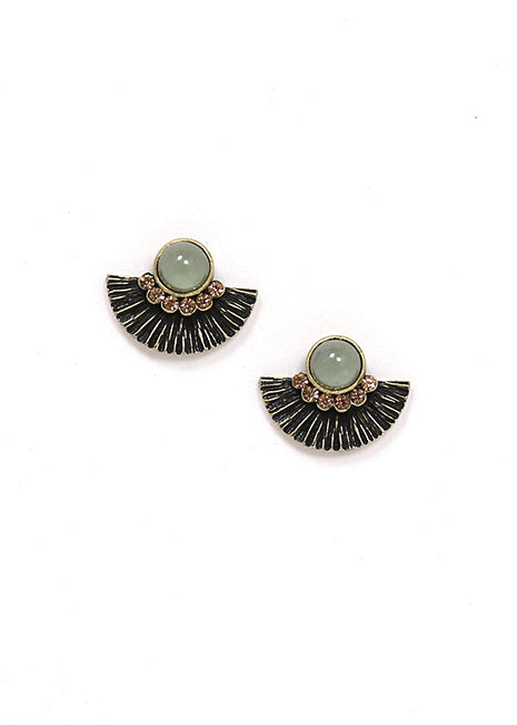 Lover's Tempo Brise Stud Earrings, Kelp green circle with Fan, homaica swarovski