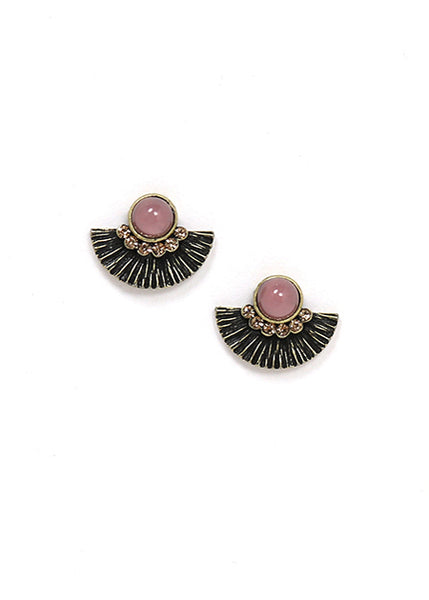 Lover's Tempo Brise Stud Earrings, Pink circle with Fan, homaica swarovski