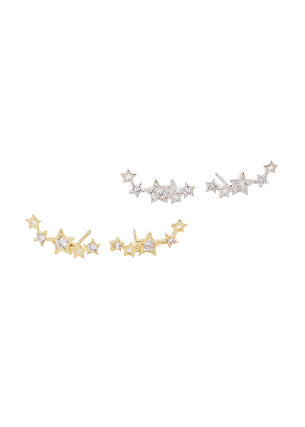 Lover's Tempo Gamma Star Ear Climbers Gold Sterling Silver