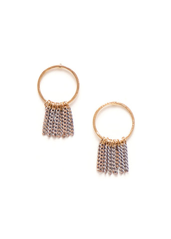 Lover's Tempo  |  Olympia Fringe Hoop Earrings, Grey SOLD OUT