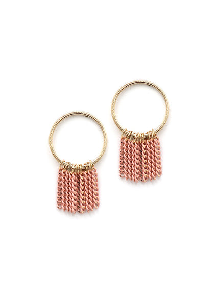 Lover's tempo Olympia Fringe Hoop Earring Pink Fun Circular Colored Chain