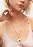 soko triple charm necklace gold brass simple elegant long