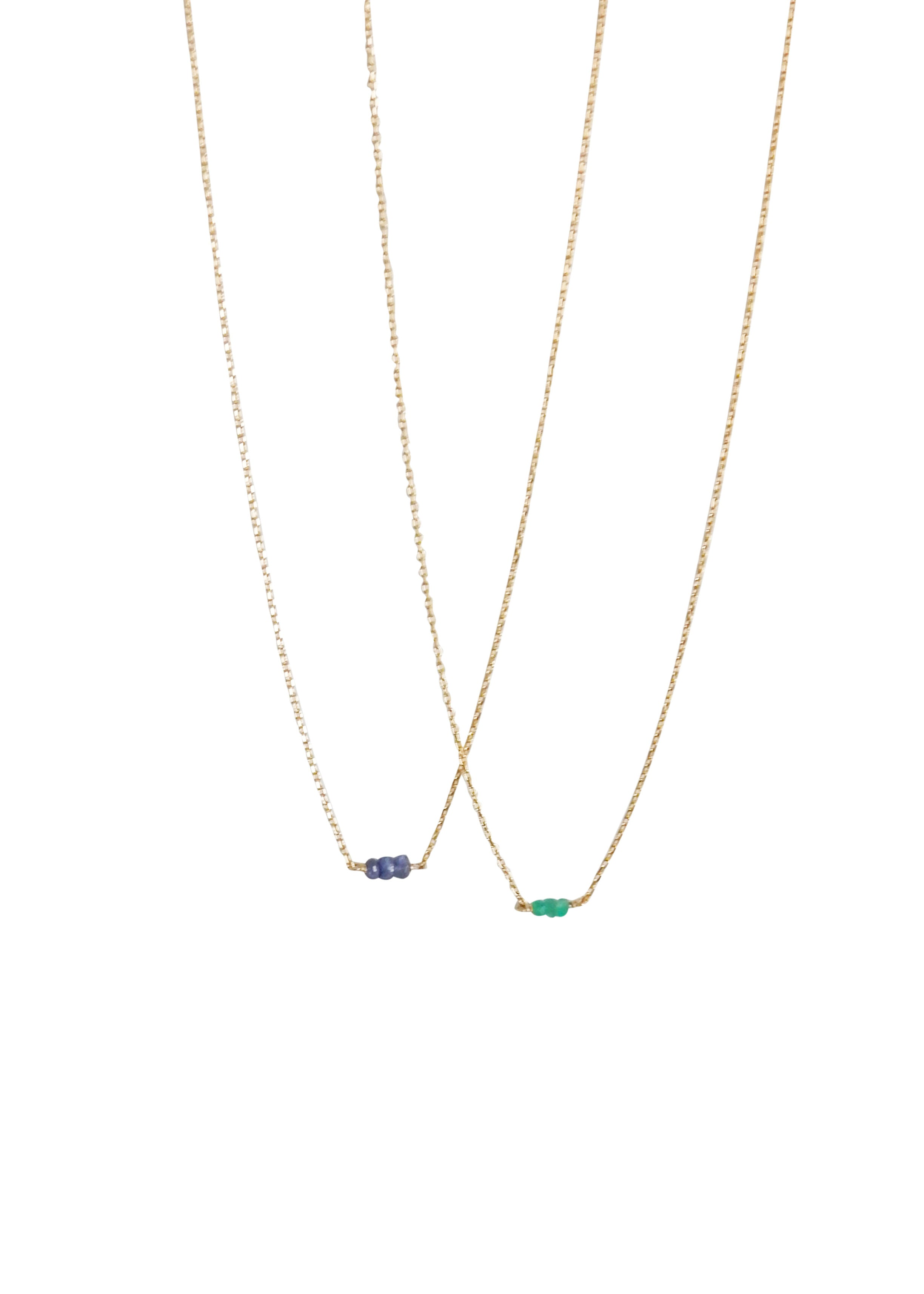 Sophie Deschamps Calvi Necklace Emerald Blue Sapphire Delicate