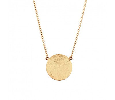 Large Hammered Disc Necklace Gold