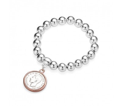 Chunky Bead Bracelet with coin (silver filigree)