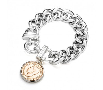 Chain Bracelet with coin (silver coin and rose gold chain)