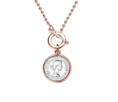 Coin Face Chain Necklace (Rose Gold)