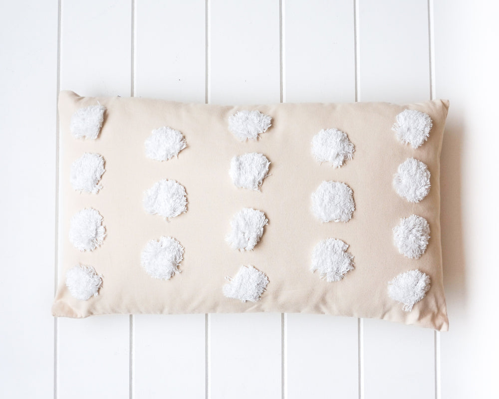 Tufted Cushion Spots White on Natural 50x30