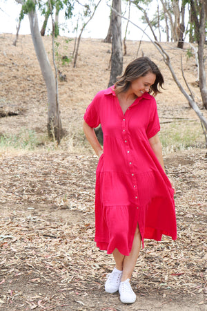 Holly Maxi Shirt Dress (hot pink)