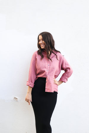 Hazel Button Up Shirt (Blush)