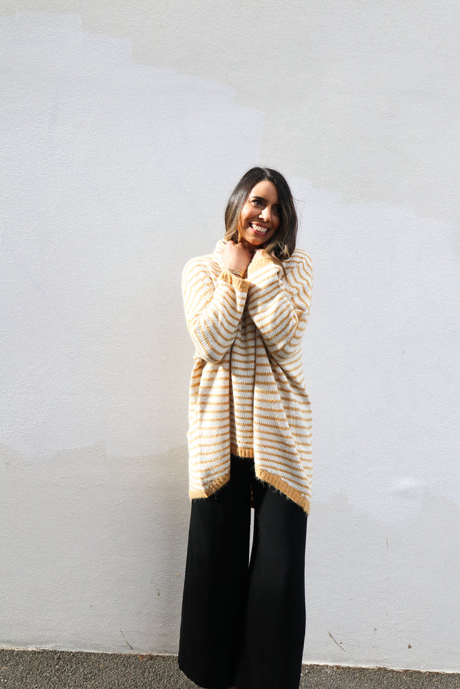 Lilith Knit Top (Mustard Stripes)