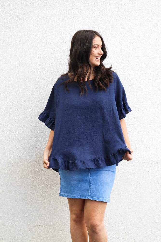 Load image into Gallery viewer, Cassia Top (navy)