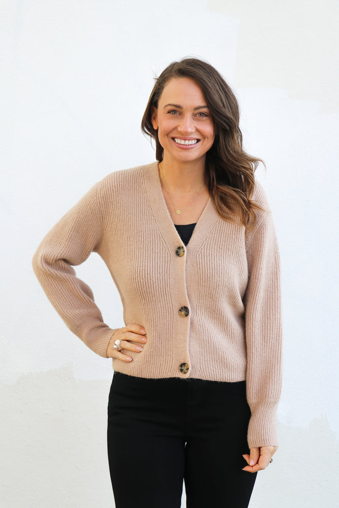 Load image into Gallery viewer, Judson Rib Cardi (Caramel)
