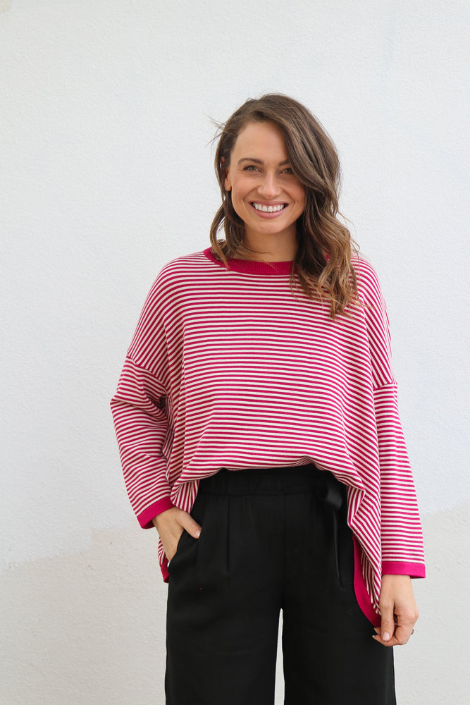 Load image into Gallery viewer, Franklin Striped Knit (plum & white)