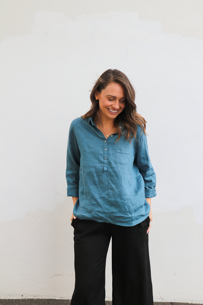 Load image into Gallery viewer, Antonia L/s Linen Shirt (Teal)