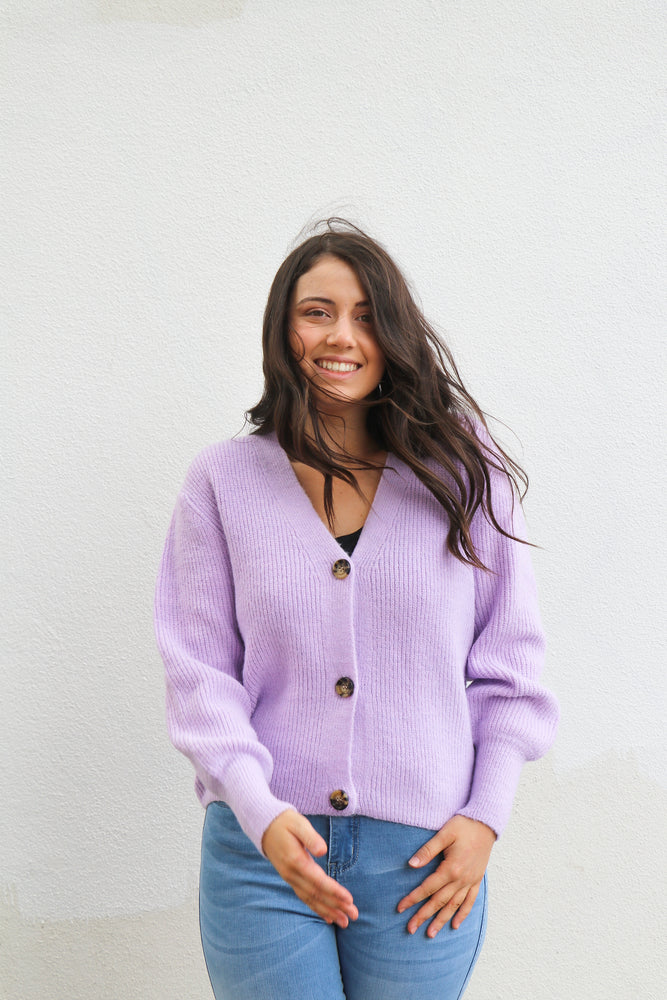 Load image into Gallery viewer, Judson Rib Cardi (Lilac)