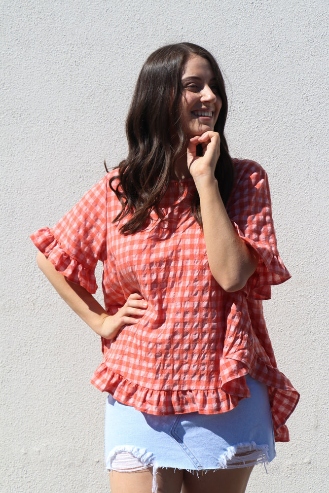 Load image into Gallery viewer, Cassia Top (tangerine gingham)