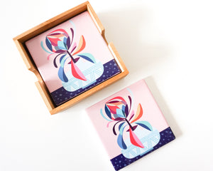 Protea Ceramic Coaster (set of 4)