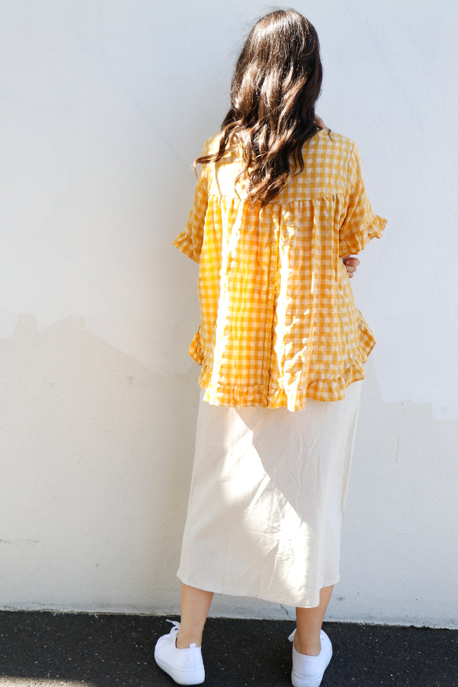 Cassia Top (Yellow Gingham)