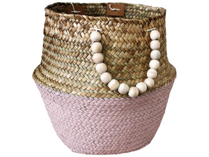 Belly Basket w Beads Small (Pink)