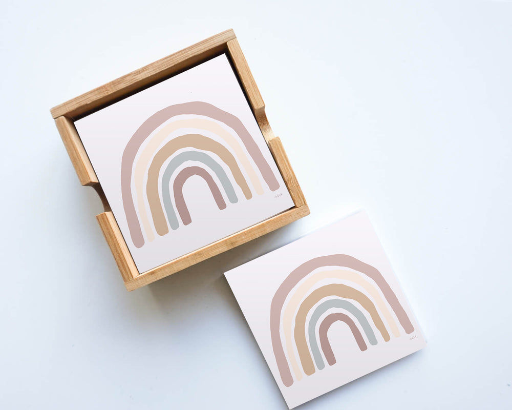Load image into Gallery viewer, Rainbows Blush Cermaic Coaster (set of 4)