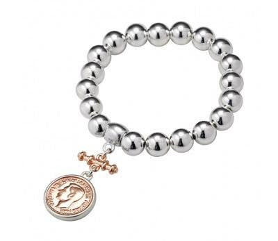 Bead Bracelet with small coin/fob (silver bracelet/trim and rose gold coin/fob )