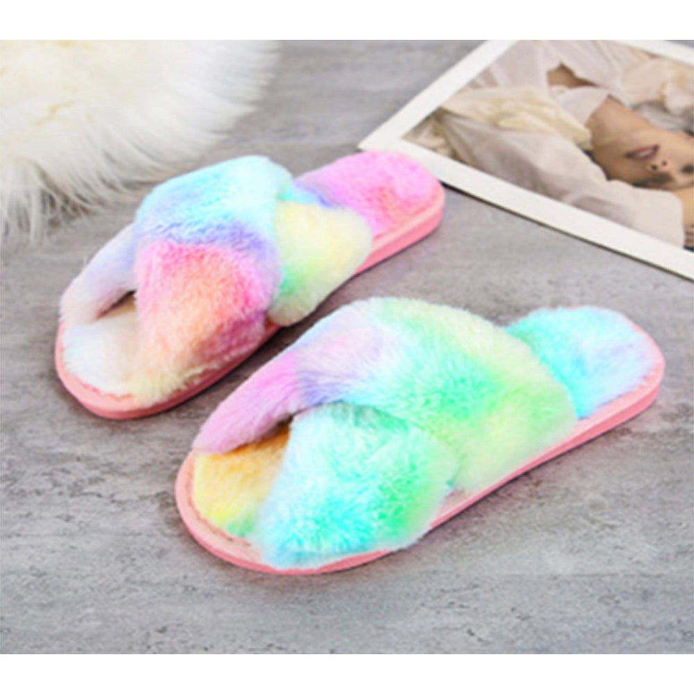 Load image into Gallery viewer, Skylar Fluffy Slippers (rainbow)