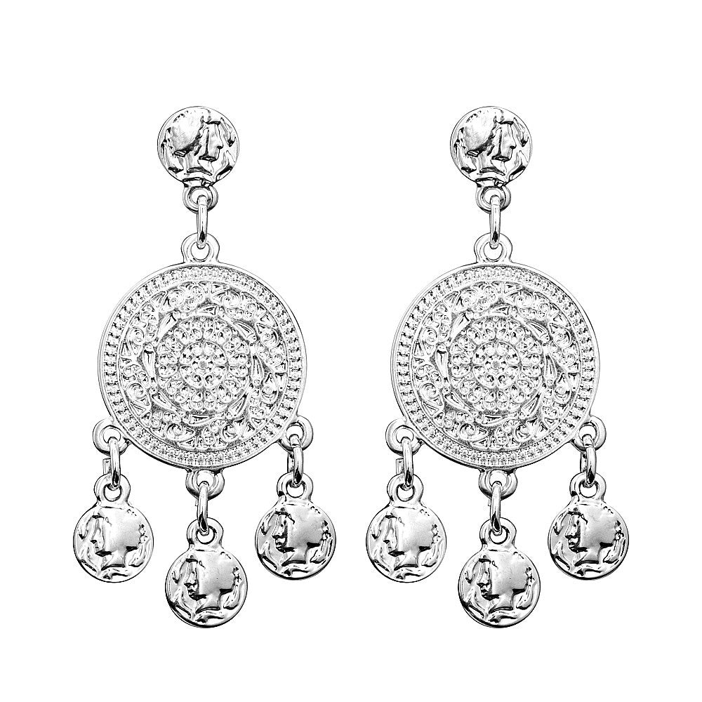 Filigree Coin Earrings (silver)