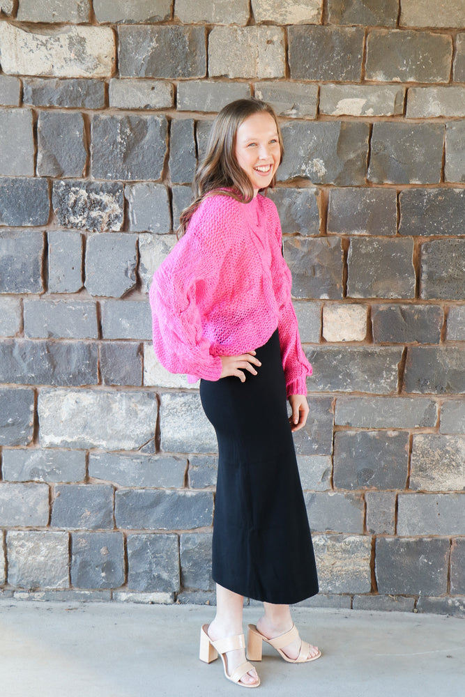 Binni Cable Knit Top (Hot Pink)