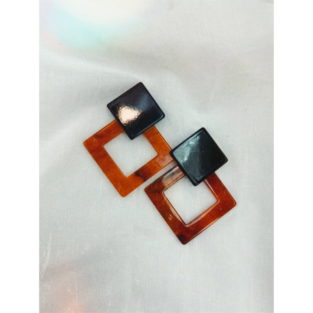 Duke Square Earrings - Black/Amber