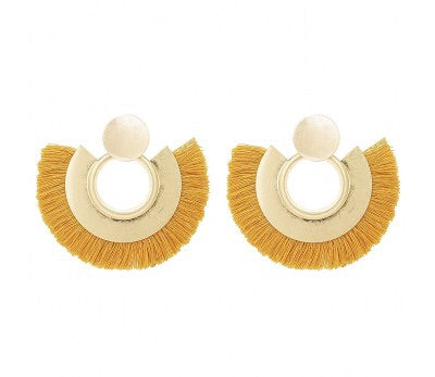Lorlor Fringed Earrings (mustard)