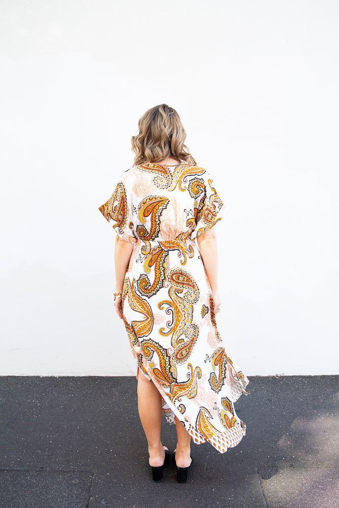 Tactus Maxi Dress (orange print)