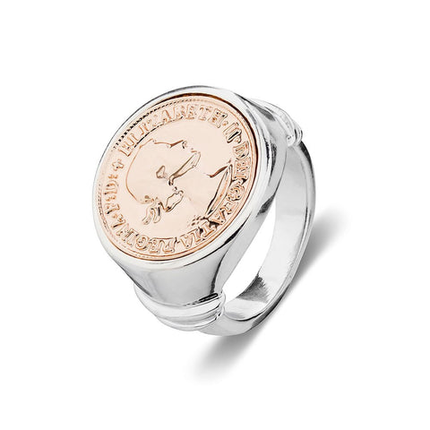 Silver & Rose Gold Coin Ring