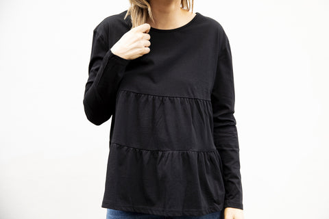 Ruffle long  sleeve top (black)
