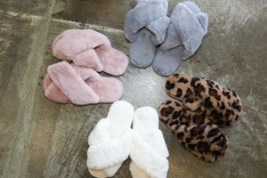 Skylar Fluffy Slippers (leopard)