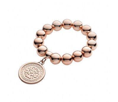 Chunky Bead Bracelet with coin (rose gold filigree)