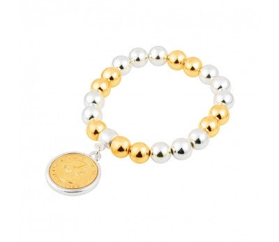 Bead Bracelet with coin (silver and gold)