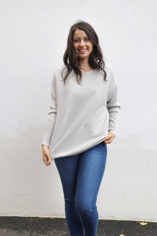 Load image into Gallery viewer, Benson Ribbed Knit Top (Grey)