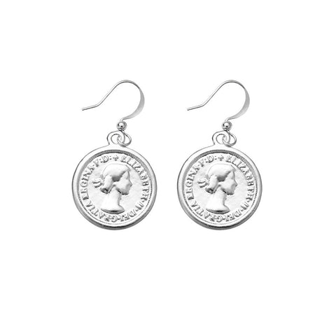 Coin Drop Earrings (silver)