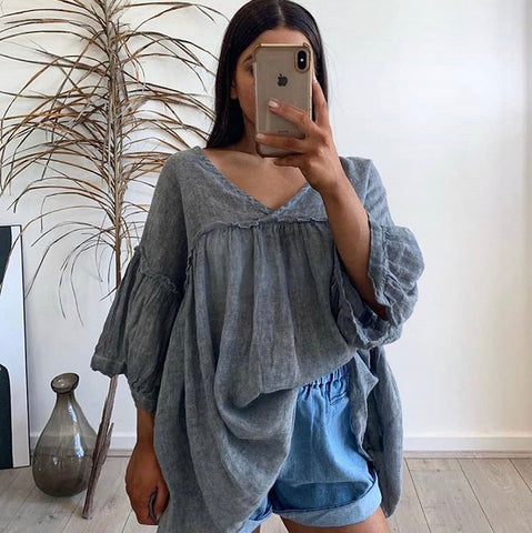 Clea Linen Top (grey)
