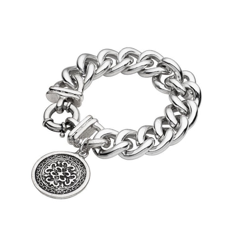 Soho Style Picks Silver Chain Bracelet with coin