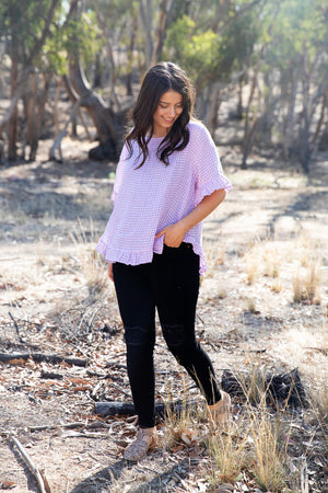 Cassia Top (lilac gingham)