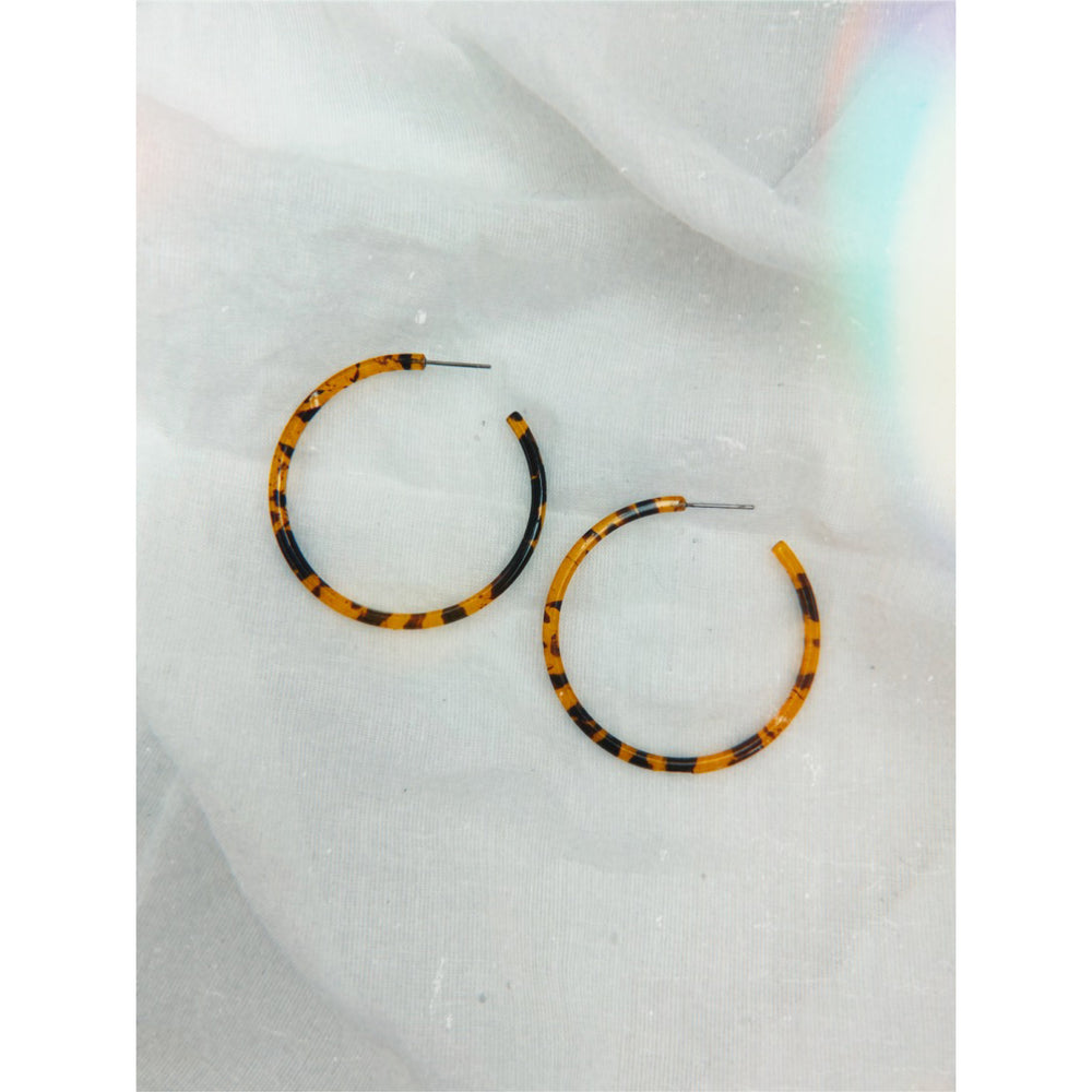 Nico Earrings Round Hoop  Tort