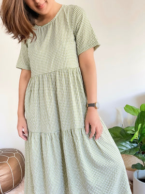 Reese S/S Gingham Dress (green)