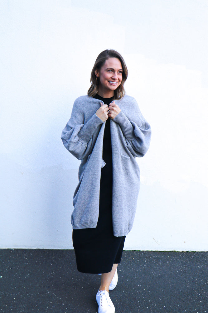 Load image into Gallery viewer, Take My Hand Blouson Sleeve Cardi (grey)